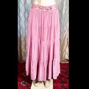 BCBG MAXAZRIA Maxi Pink BOHO Skirt Velvet Sequin M